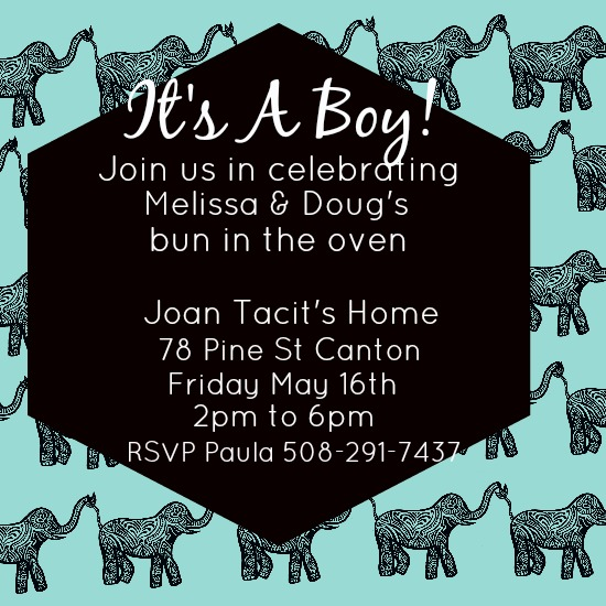 baby shower invitations - Tribal Elephant by Kayla Pisto