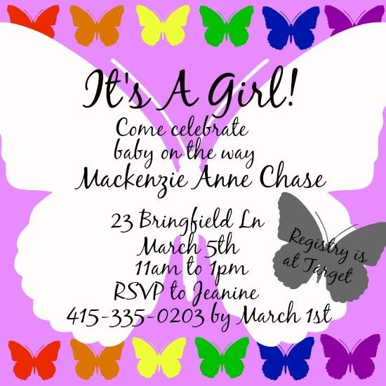 baby shower invitations - Butterfly in the Sky by Kayla Pisto
