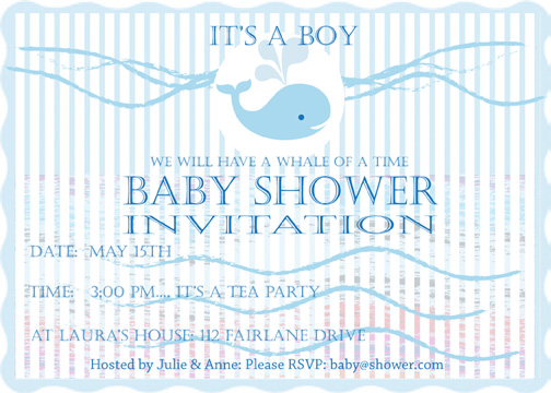 baby shower invitations - A whale of a time, its a boy baby shower invitation by Madeleine