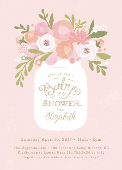 baby shower invitations - Mason jar florals by Jennifer Wick