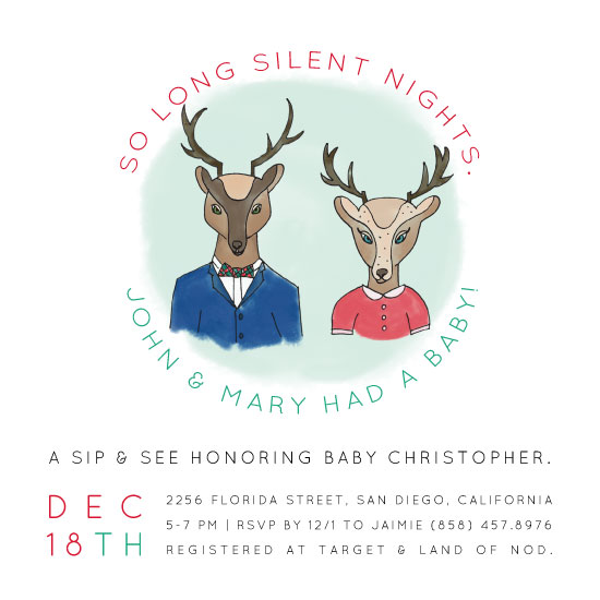 baby shower invitations - So Long Silent Nights. by Barney Design