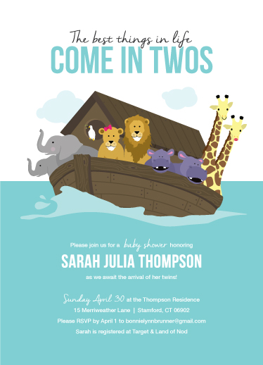 baby shower invitations - Noah's Ark by Bonnie Brunner