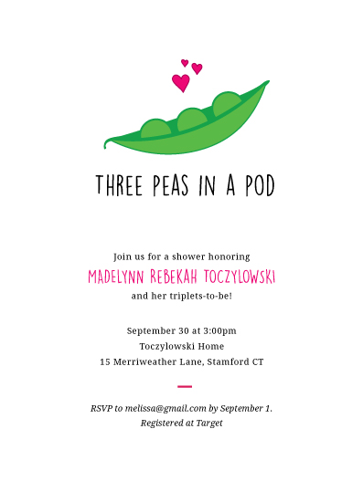 baby shower invitations - 3 Peas in a Pod by Bonnie Brunner