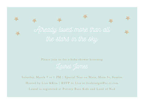 baby shower invitations - Loved More Than All The Stars by Lisa Krueger