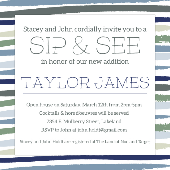 baby shower invitations - Modernist Sip & See by Tai Cook