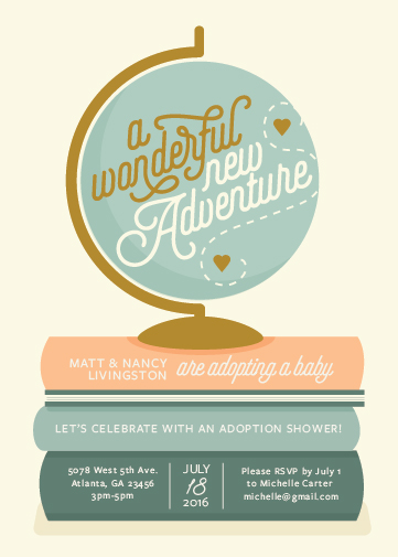baby shower invitations - Adventure with Adoption by Stephanie Strouse