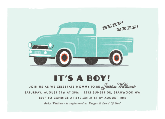 baby shower invitations - vintage baby truck by Karidy Walker