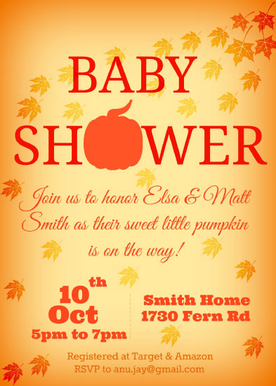 baby shower invitations - Little Pumpkin by Anubha