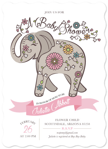baby shower invitations - Painted Elephant by Rhiannon Davenport