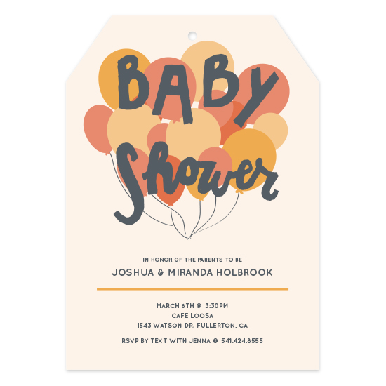 baby shower invitations - Balloon Baby by Rebecca Pierpoint