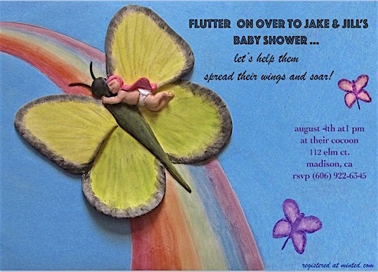 baby shower invitations - butterfly baby by Missy Kaolin