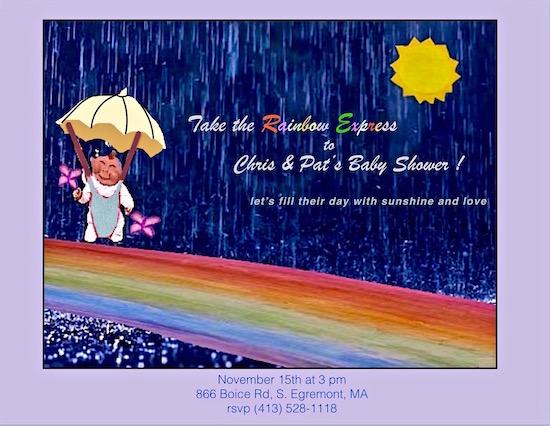 baby shower invitations - rainbow express by Missy Kaolin