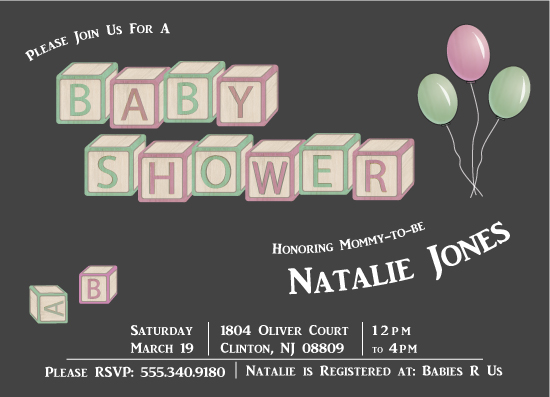 baby shower invitations - Shower Blocks by Maria Pormilli