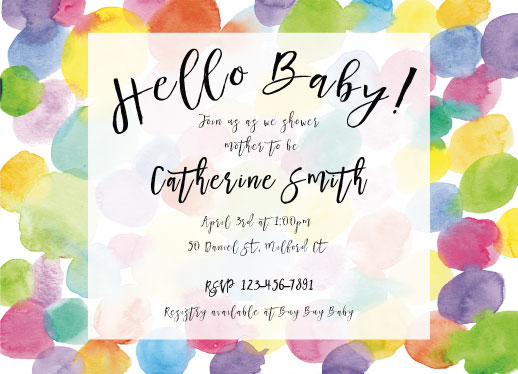 baby shower invitations - Circles and Circles in Watercolor by Cat Wilcox