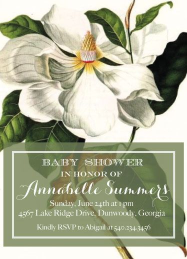 baby shower invitations - sweet magnolia by Pippi and Penelope