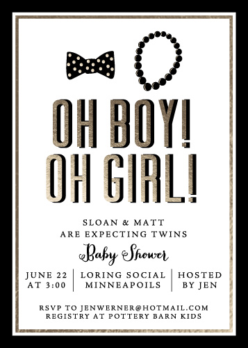 baby shower invitations - Bow Ties & Pearls by Gretchen Berry