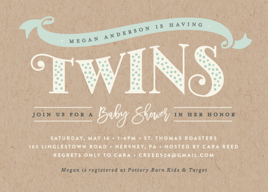baby shower invitations - Dotted twins by Jennifer Wick