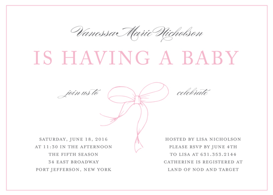 baby shower invitations - Elegant Bow by Gray Star Design