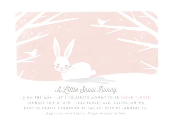 baby shower invitations - little snow bunny by Karidy Walker