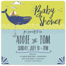 baby shower invitations - Handdrawn Nautical Invitation by Megan Costill