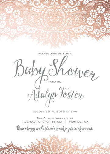 baby shower invitations - Elegant Lace by Lori Lay