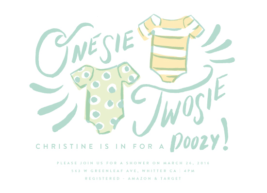 baby shower invitations - Onesie Twinsies by Shiny Penny Studio