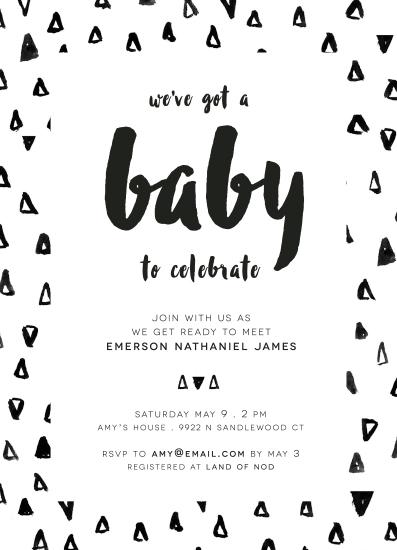 baby shower invitations - black & white baby by Heidi Jantz