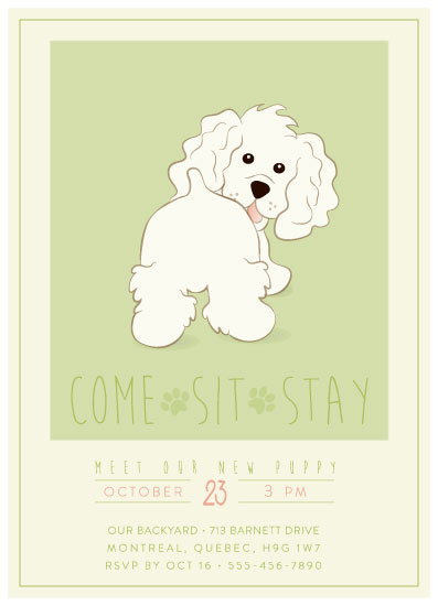 baby shower invitations - Come, Sit, Stay by Agi Szabo