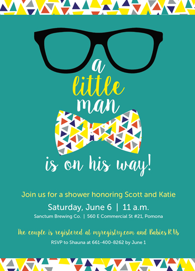 baby shower invitations - Little Man is On His Way by Shauna Hernandez