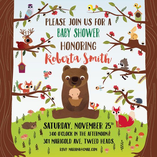 baby shower invitations - Woodland Baby Shower by Sole Catel