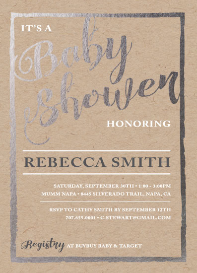 baby shower invitations - foil border by Nicholas Leija