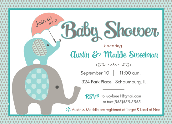 baby shower invitations - Cute Baby Elephant by Kathleen Petit