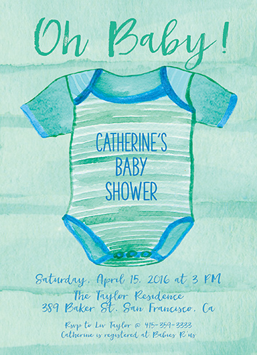 baby shower invitations - watercolor onesie by the roche shop