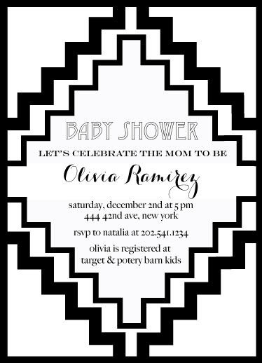 baby shower invitations - modern black and white by Pippi and Penelope