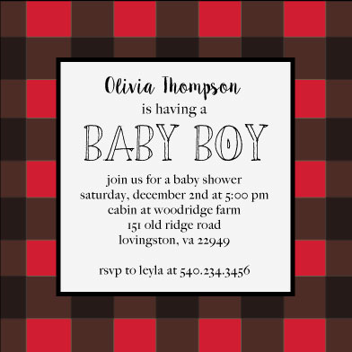 baby shower invitations - buffalo plaid by Pippi and Penelope