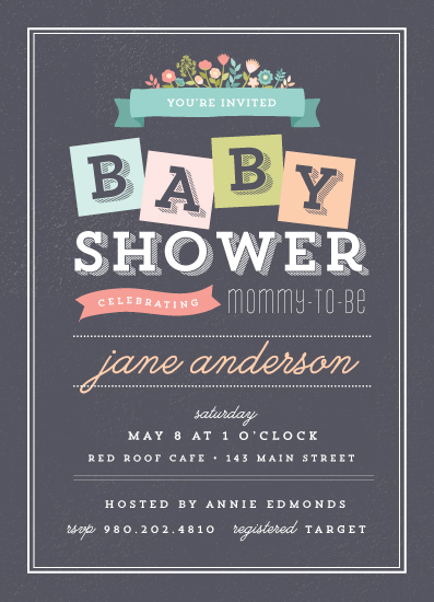 baby shower invitations - Blocks & Blooms by Emily Henning