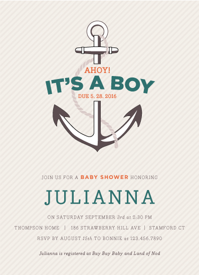 baby shower invitations - Ahoy! by Bonnie Brunner