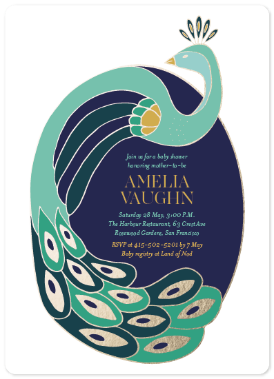 baby shower invitations - Peacock Shimmer by curiouszhi design