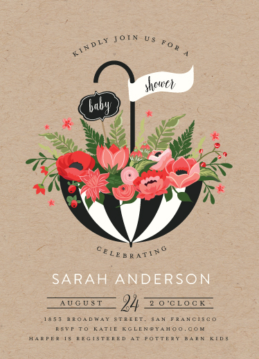 baby shower invitations - Umbrella Bouquet by Susan Moyal