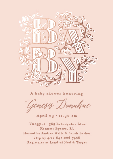 baby shower invitations - Illustrated letters by Jennifer Wick