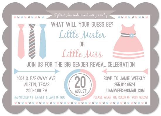 baby shower invitations - Little Mister or Little Miss Gender Reveal Invitation by Hello Ruby Grace