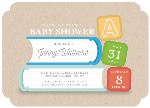 baby shower invitations - Babies and Books by jellyjollyho