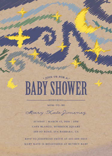 baby shower invitations - Baby Starry Shower by Gabriel