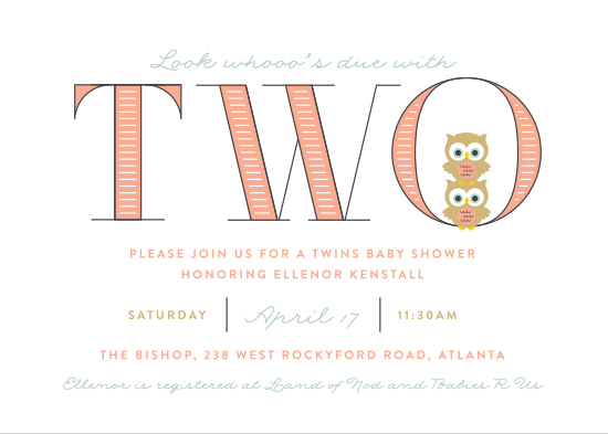 baby shower invitations - Whooo's Due With Two by Shari Margolin