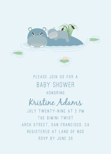 baby shower invitations - sweet hippo by Jay Anne