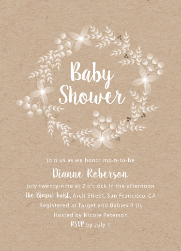 baby shower invitations - golden wreath by Jay Anne