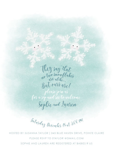 baby shower invitations - Twin Snowflakes by Agi Szabo