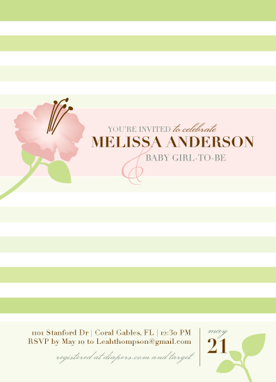 baby shower invitations - Blossom Stripe by Thoroughly Curly Designs