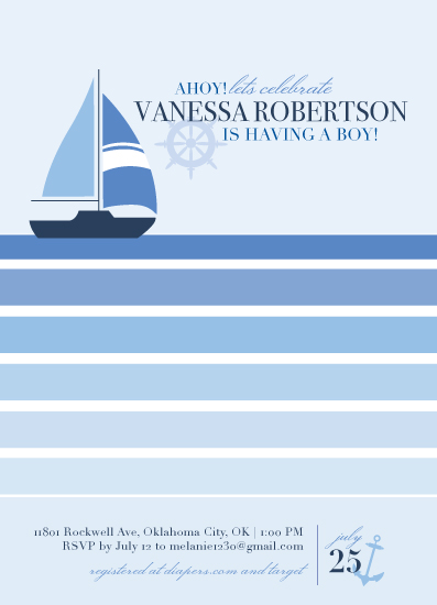 baby shower invitations - Little Sailboat by Thoroughly Curly Designs