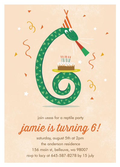birthday party invitations Snake and Cake at Mintedcom